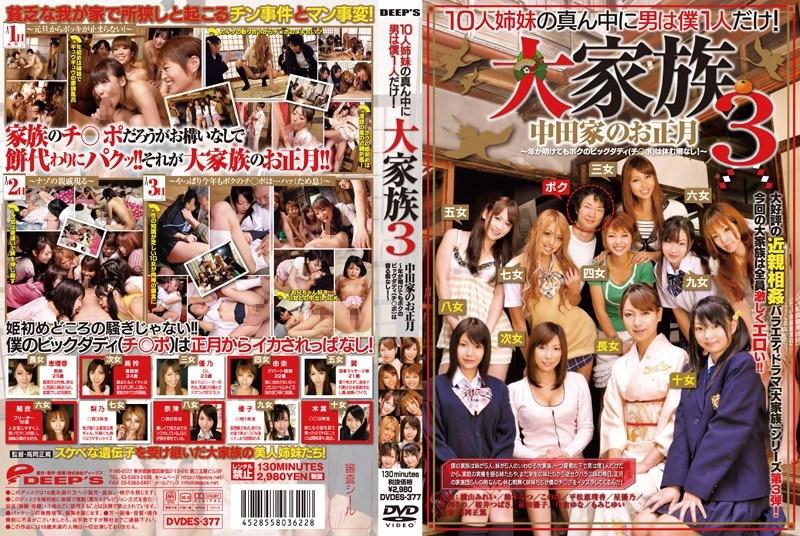 DVDES-377 Mirei Yokoyama, Maiko Morimoto, Natsu Suzuki, Erika Hiramatsu, Yuno Hoshi, Kaori Hiramatsu,Rino Mizusawa – Incest Ten Sisters and one Brother 3  (Deeps/2011)
